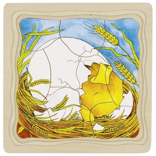 Puzzle 4 estágios - Ovo & Galinha - Goki